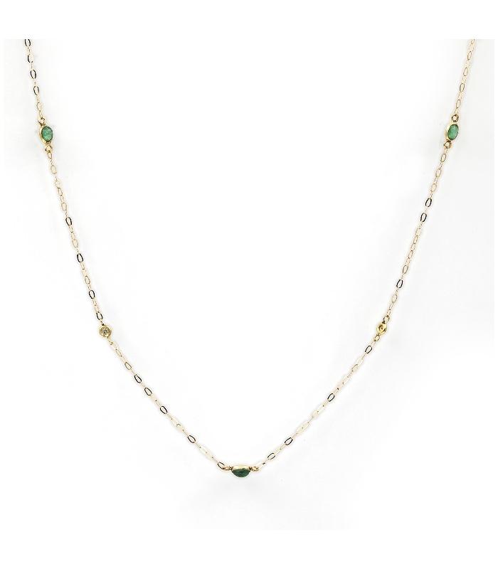 Gargantilla de Oro con Diamantes y Esmeraldas