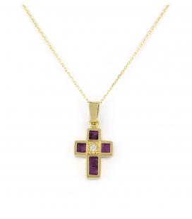 Gargantilla con Colgante Cruz de Oro con Diamantes y Rubíes