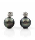 Pendientes de Oro con Diamantes y Perlas de Tahití