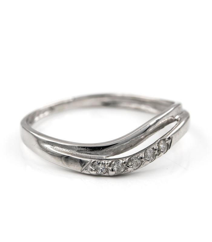 Media alianza en oro blanco con frente decorado con diamantes - Talla 16 [ES]