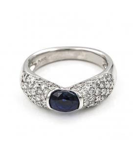 Sortija en Platino con Diamantes y 1 Zafiro