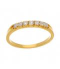 Sortija de Oro amarillo con 7 Diamantes