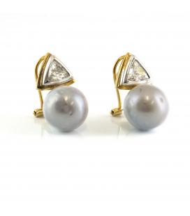 Pendiente Vintage de Oro con Diamante y Perla