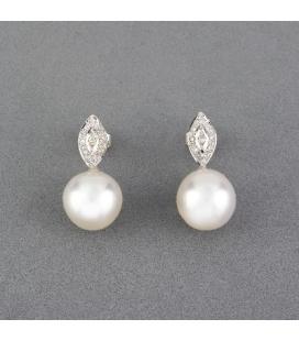 Pendientes de Oro blanco con Diamantes y Perlas Australianas