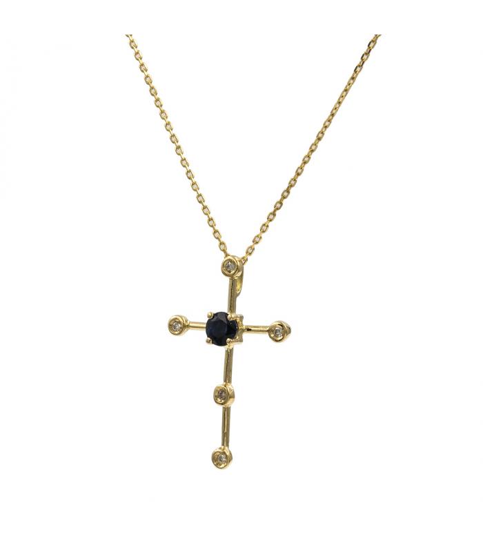 Gargantilla de Oro diseño Cruz con Diamantes y Zafiro