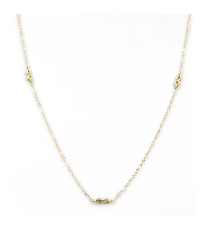 Gargantilla con Cruz de Oro amarillo con Diamantes