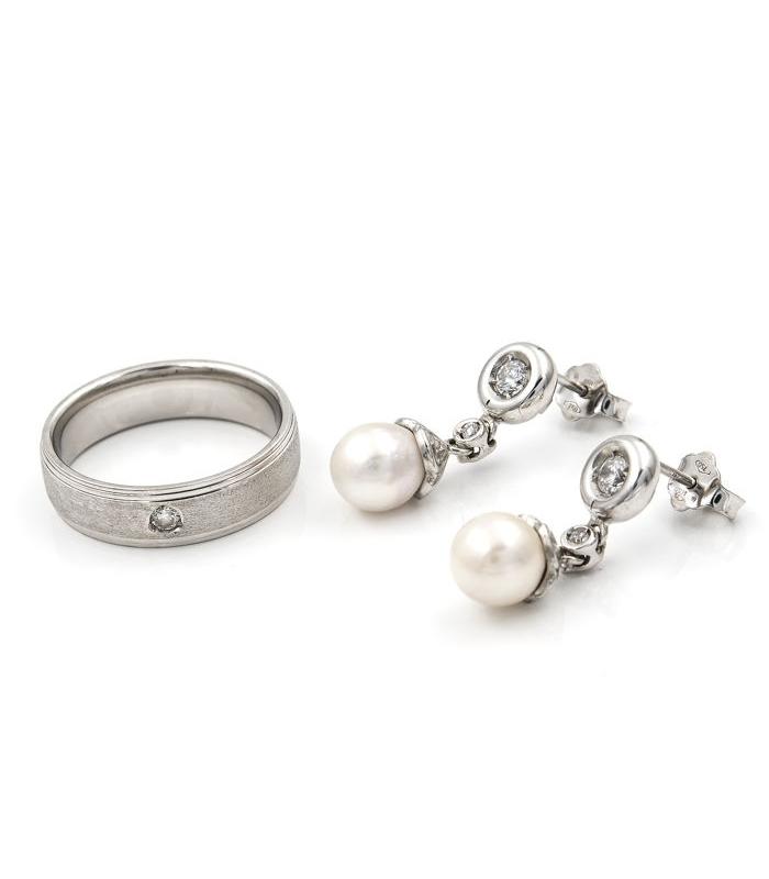 Conjunto de sortija y pendientes en oro blanco con perla Akoya y circonita - Talla sortija 16,5 [ES]