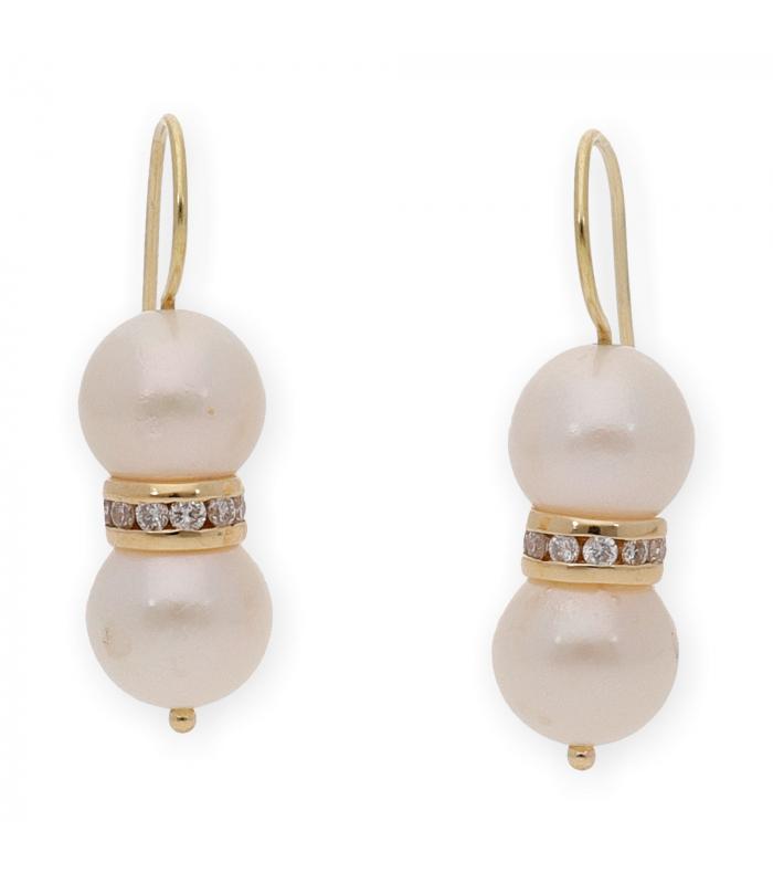 Pendientes de Oro amarillo con Perlas y Diamantes
