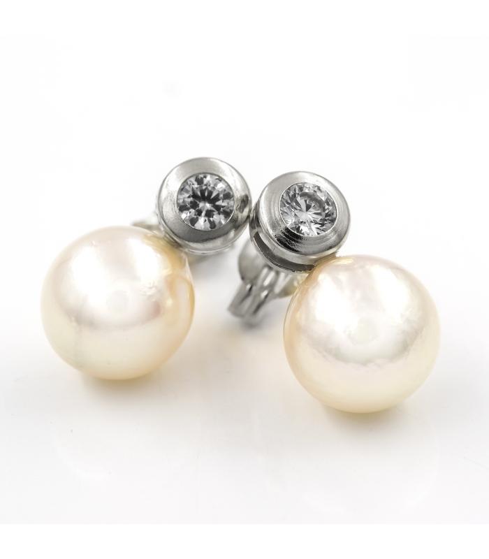 Pendientes Oro Blanco con Perla y Circonita