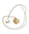 Gargantilla y colgante de oro amarillo en forma de corazón mate y brillo con diamante