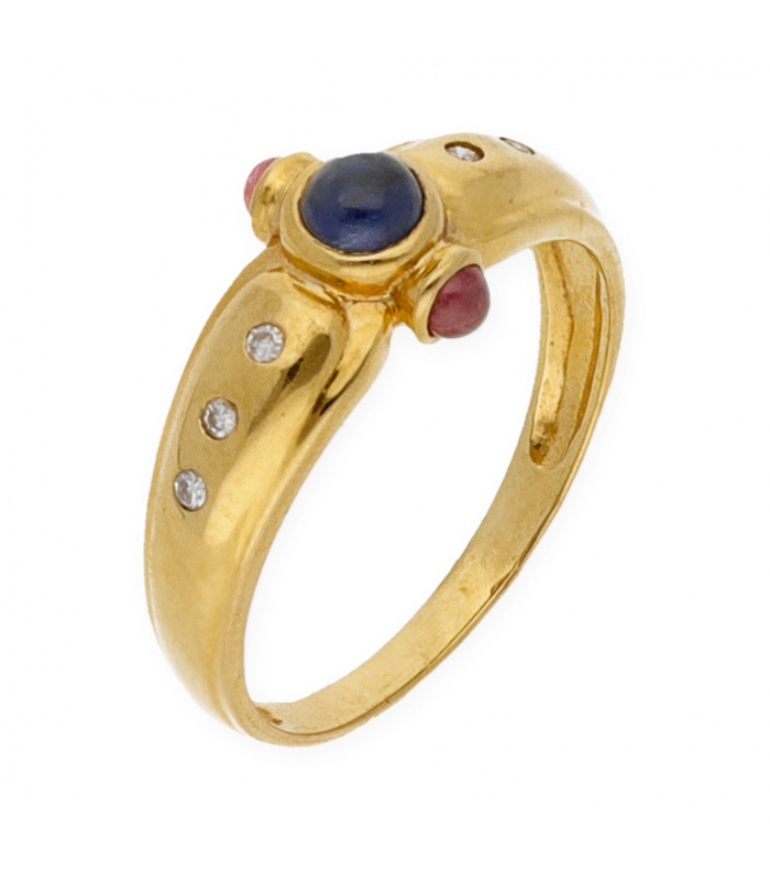 Sortija de Oro amarillo con Diamantes, Rubíes y Zafiro