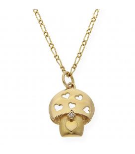 Gargantilla Diseño Seta en Oro con un Diamante