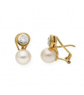 Pendientes Oro Bicolor con Diamante y Perla