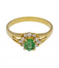 Sortija Oro Amarillo con Diamante y Esmeralda