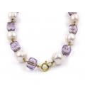 Collar de oro amarillo con perlas y amatistas