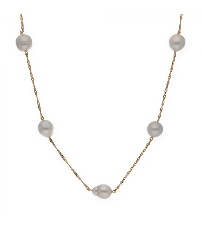 Gargantilla realizada en oro amarillo con perlas australianas barroca intercaladas