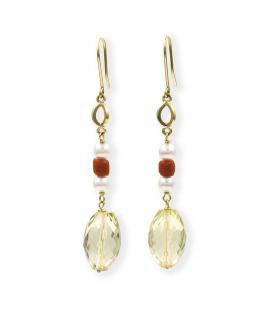 Pendientes de Oro con Cuarzo, Perla y Coral