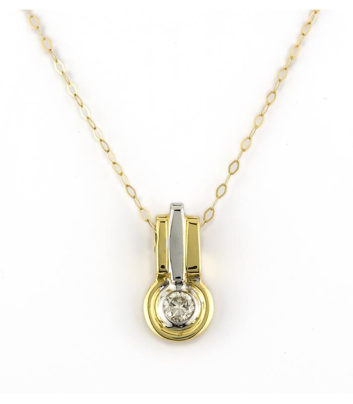 Gargantilla y Colgante Oro Bicolor con Diamante Central