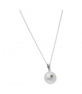 Gargantilla Oro blanco con Perla de botón y Diamante Brillante
