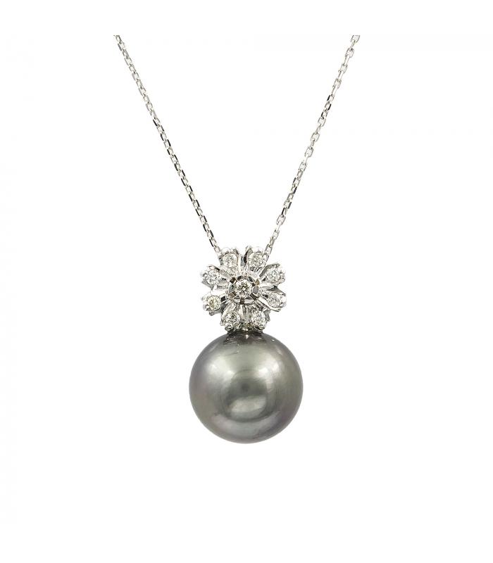 Gargantilla colgante flor Oro Diamante y perla Tahití