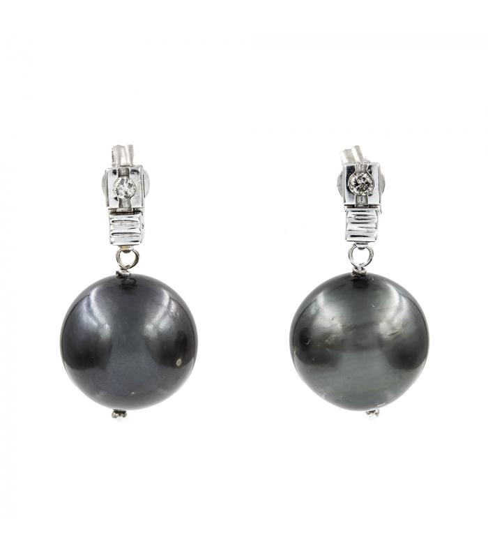 Pendientes Oro blanco con Diamantes y Perlas de Tahití 12mm