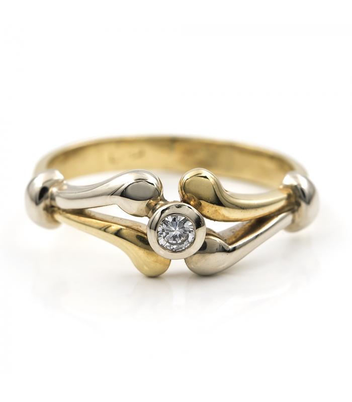Solitario Oro blanco y amarillo con Diamante