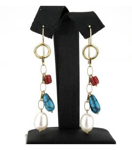Pendientes largos oro con coral, turquesa y perla