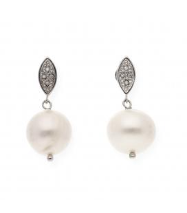 Pendientes largos Oro Blanco Diamante y Perla