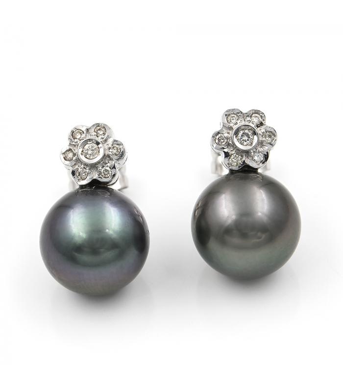 Pendientes Oro Blanco con Diamantes y Perla Tahití