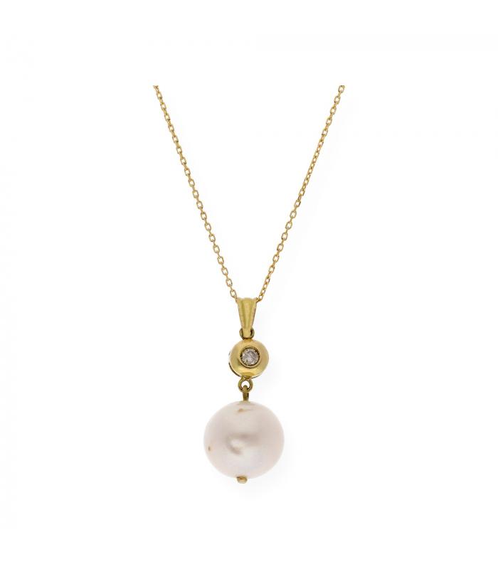 Gargantilla de Oro amarillo con Diamante y Perla