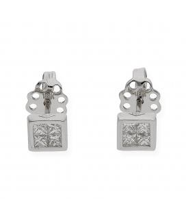 Pendientes Oro blanco con diseño cuadrado y Diamantes
