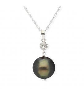 Cadena y colgante con Diamantes y Perla Tahití