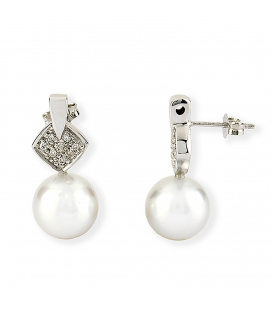 Pendientes de Oro blanco con diamantes y perla