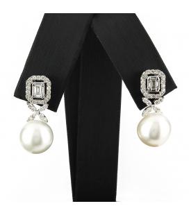 Pendientes Oro blanco con Diamantes y Perla Australiana