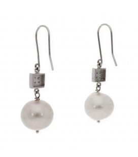 Pendientes de Oro blanco con Perla y Diamantes