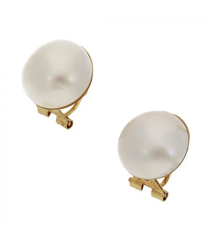 Pendientes Perlas de Mábe Japonesas y Oro de Ley 18k