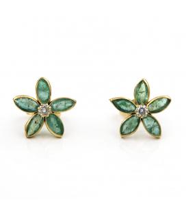 Pendientes oro amarillo esmeralda diamante esmeralda