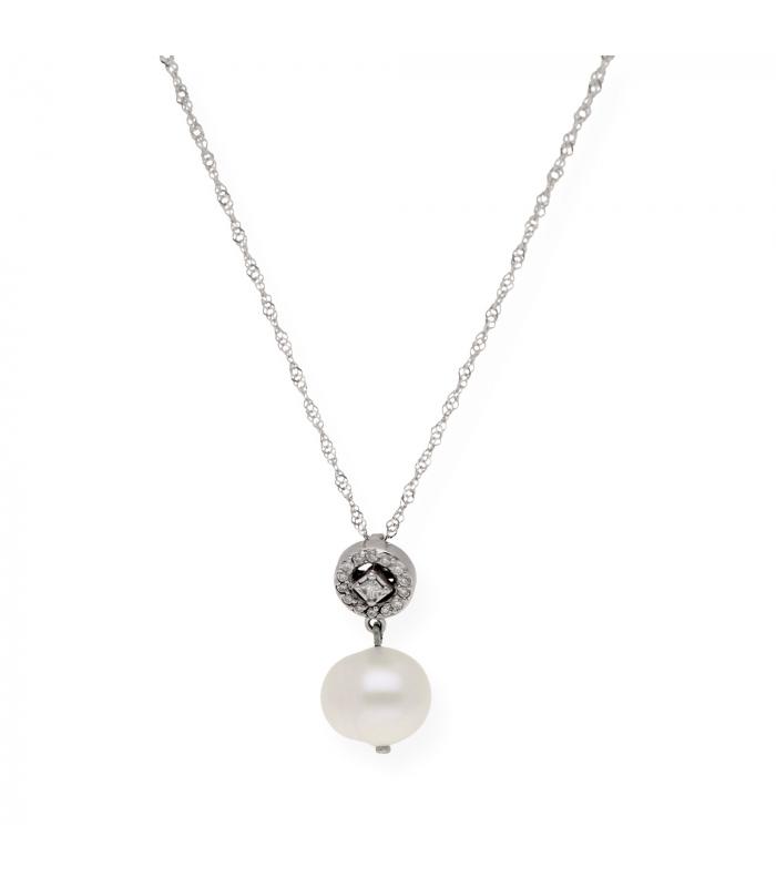 Gargantilla oro blanco 18 kt con colgante de chatón con diamante y perla barroca