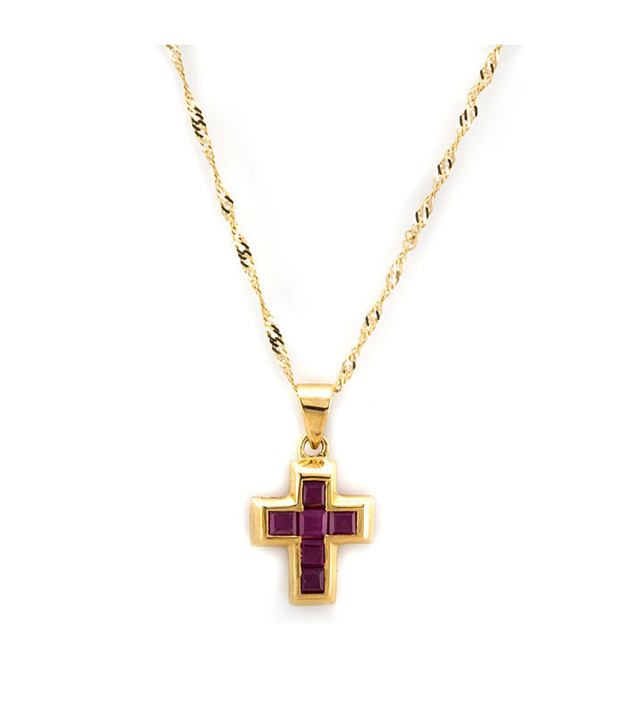 Gargantilla oro amarillo 18 kt con cruz rubíes