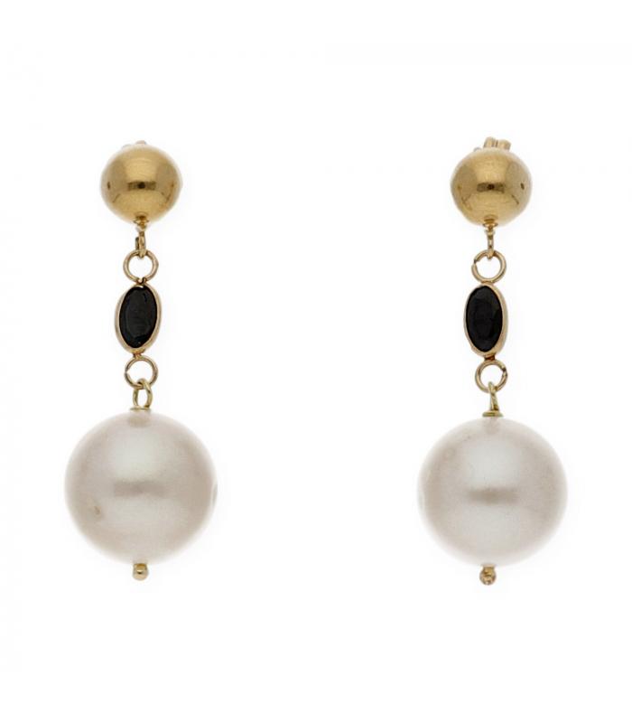 a6853ebabae2 Pendientes oro amarillo perla y zafiro