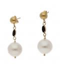 Pendientes oro amarillo perla y zafiro