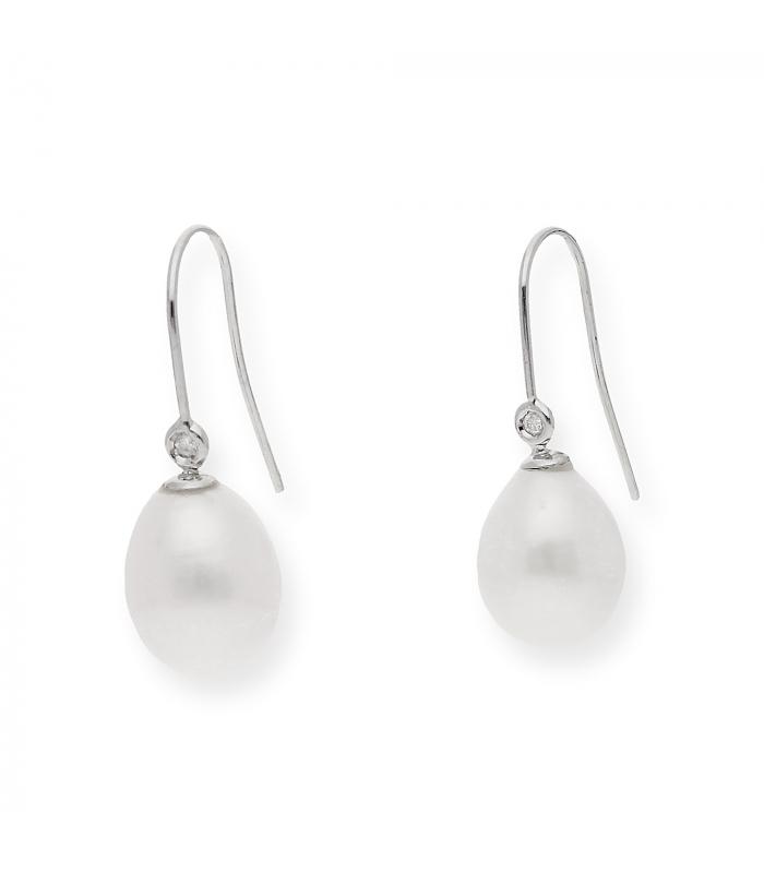 Pendientes oro blanco 18 kt (750) perlas