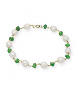 Pulsera de Perlas Naturales y Esmeraldas en Oro de Ley 18k