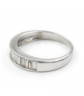 Anillo de Diamantes y Oro Blanco de Ley 18k
