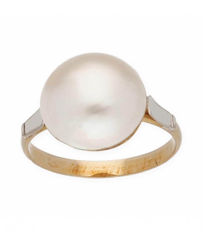 Sortija bicolor con perla mabe, oro 18 kt