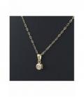 Collar y Colgante con Diamante central y Oro de Ley 18 kt