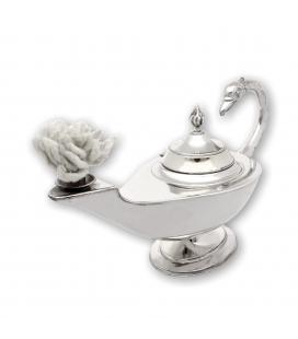 Pieza decorativa con mechero, con diseño lámpara Aladino. Plata contrastada de primera ley 925/1000.