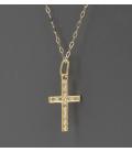 Collar con colgante en forma de cruz, oro 18k y diamantes