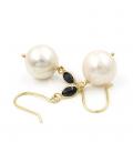 Pendientes de Perlas Cultivadas y Zafiros en Oro de Ley