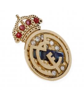 Real Madrid Pin oro 18k , diamante, zafiro y rubíes